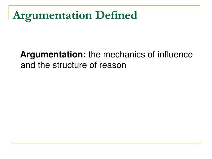 Argumentation Defined