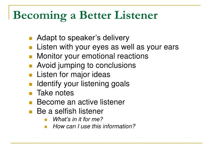 Becoming a Better Listener
