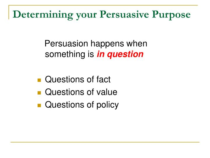 Determining your Persuasive Purpose