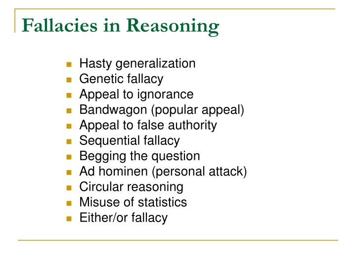 Fallacies in Reasoning