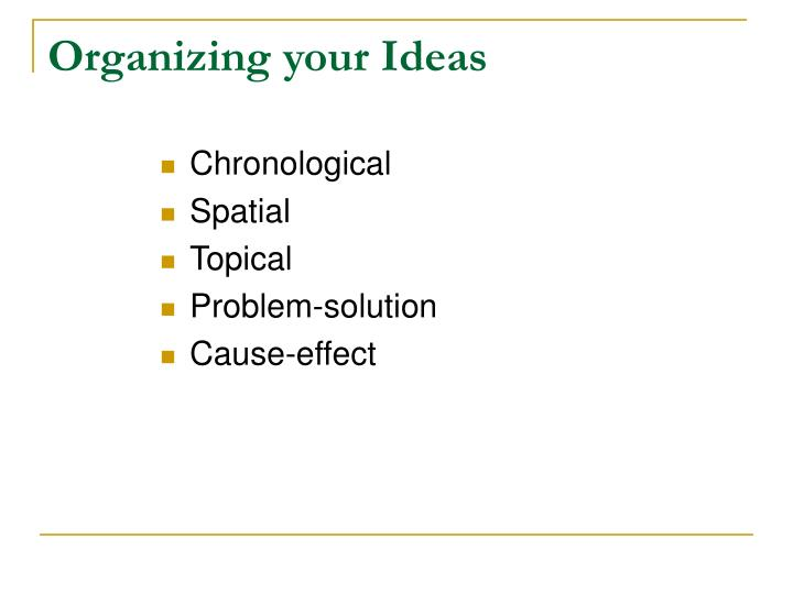 Organizing your Ideas