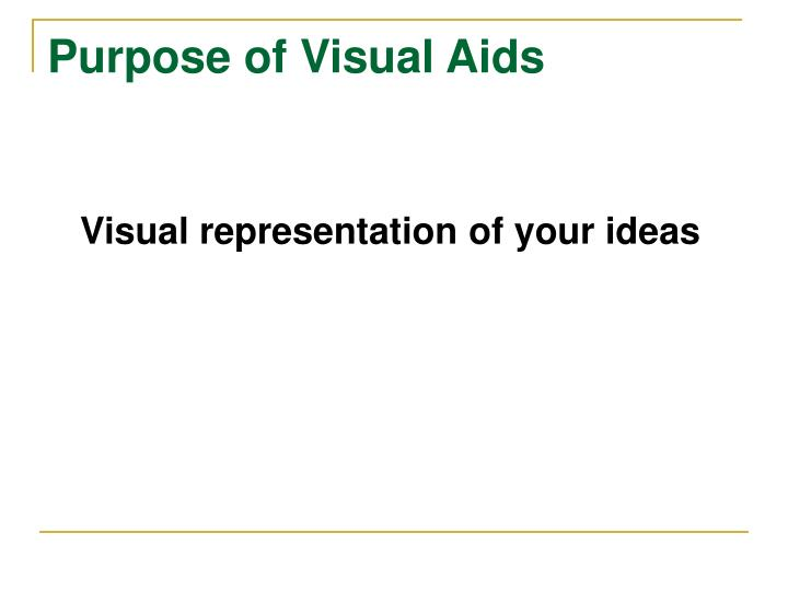 Purpose of Visual Aids