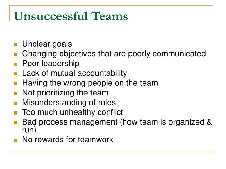 Unsuccessful Teams