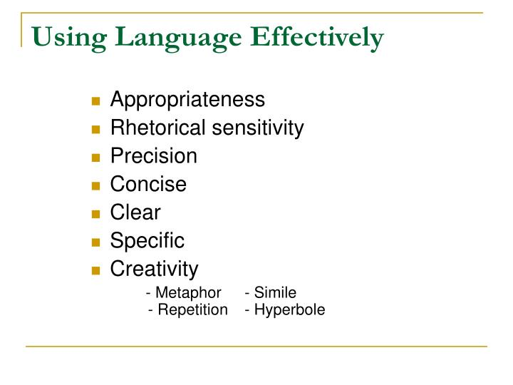 Using Language Effectively