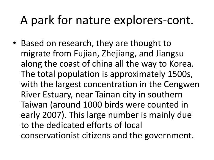 A park for nature explorers-cont.