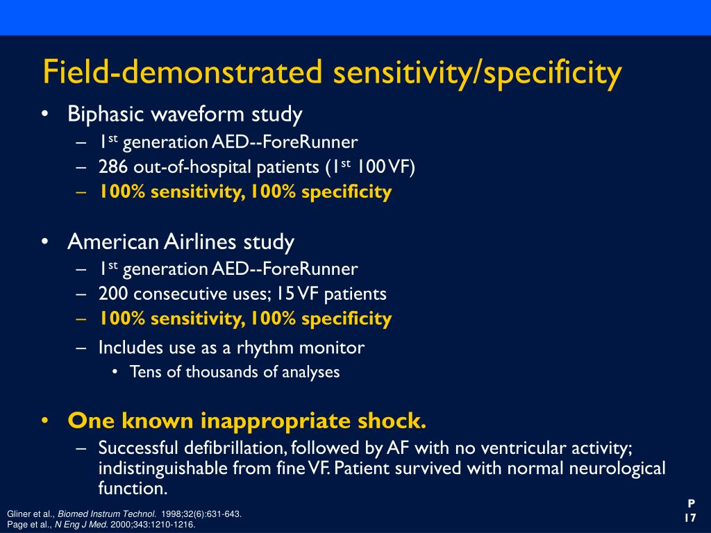 Field-demonstrated sensitivity/specificity