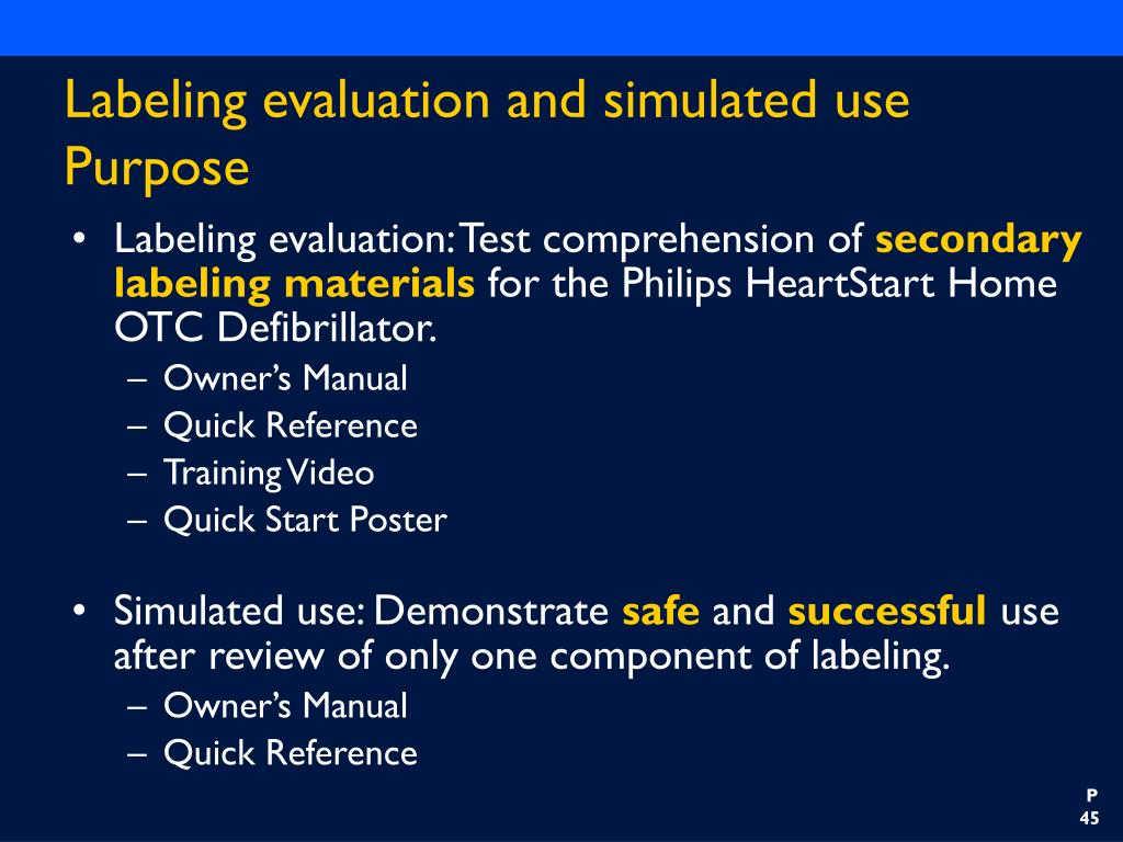 Labeling evaluation and simulated use