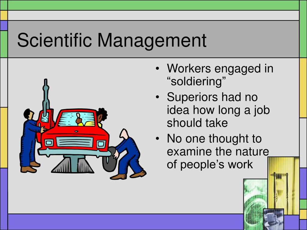 scientific management Scientific management was the first widespread promotion of rational processes to improve efficiency the goal was to develop a standard against which work performance could be measured training became an important part of the management process.