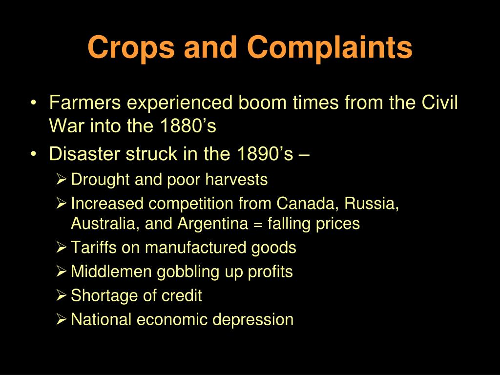 Crops and Complaints