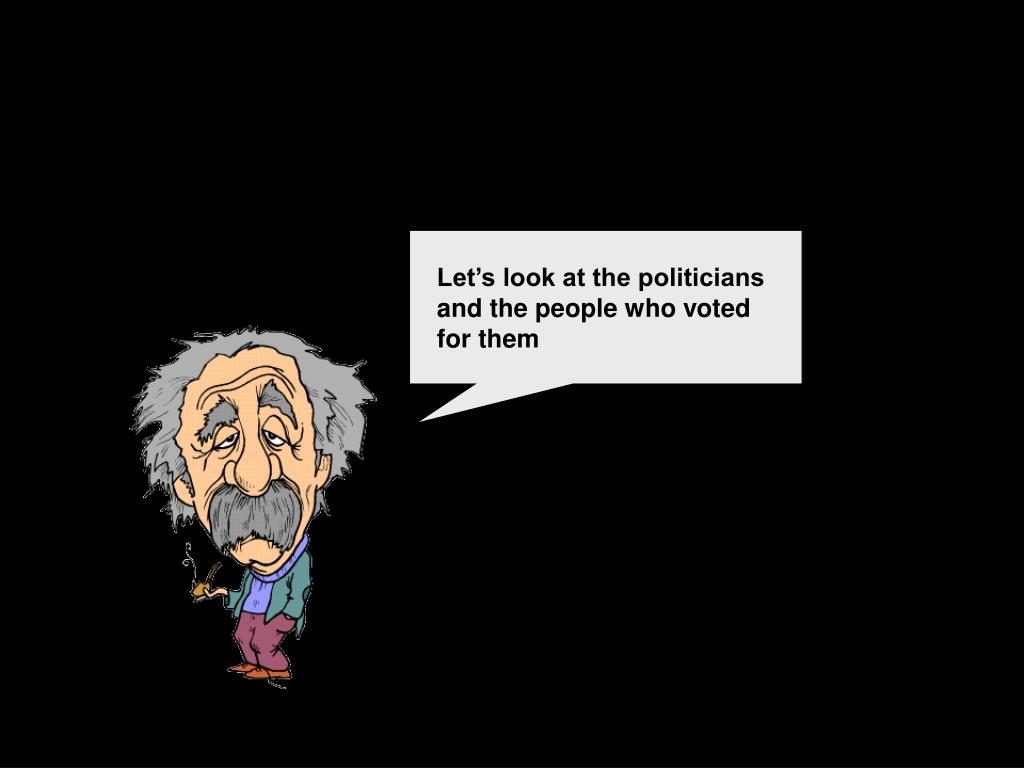 Let's look at the politicians and the people who voted for them