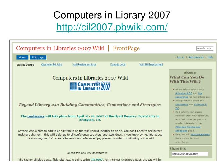 Computers in Library 2007