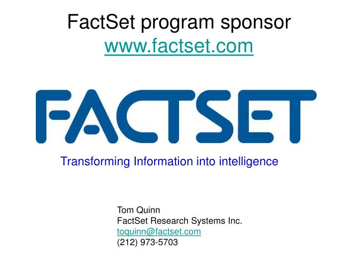 FactSet program sponsor