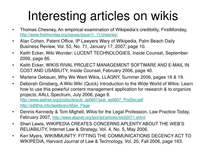 Interesting articles on wikis
