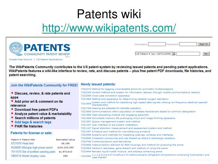 Patents wiki