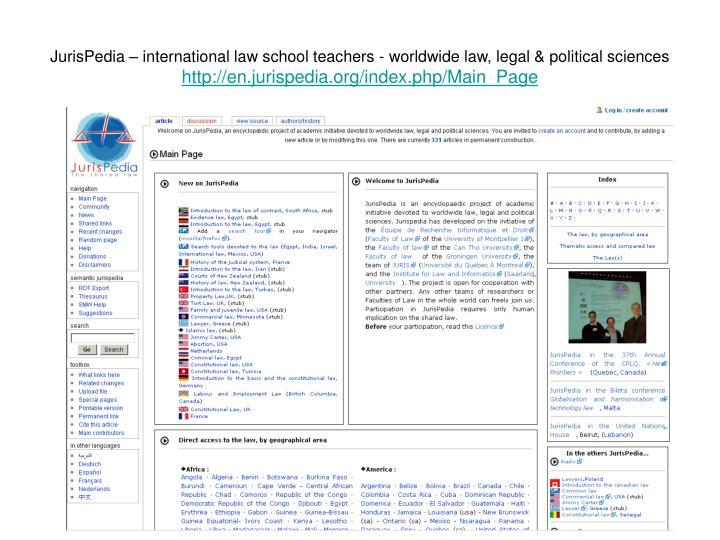 JurisPedia – international law school teachers - worldwide law, legal & political sciences