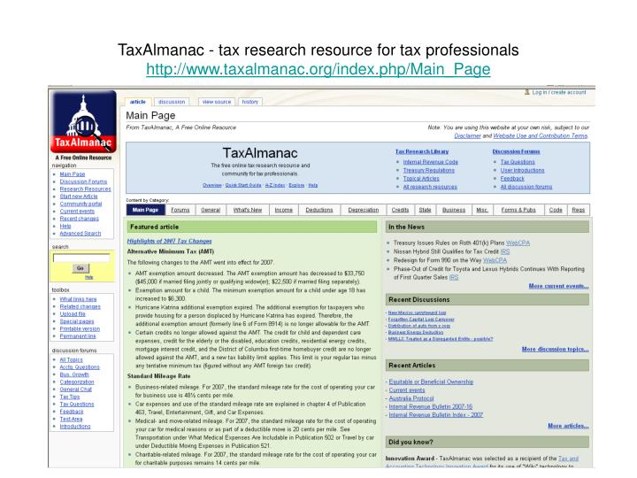 TaxAlmanac - tax research resource for tax professionals