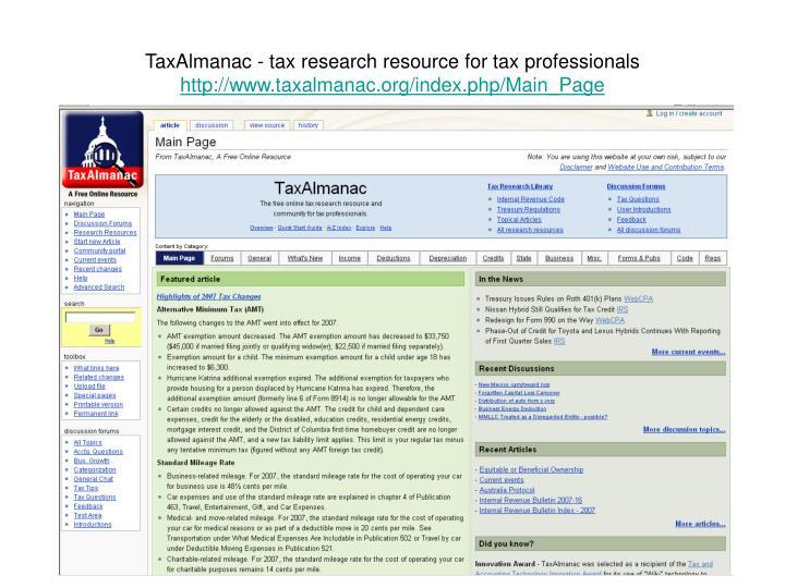 TaxAlmanac - taxresearchresourcefortaxprofessionals