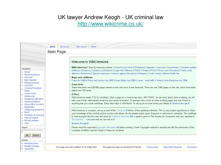 UK lawyer Andrew Keogh - UK criminal law