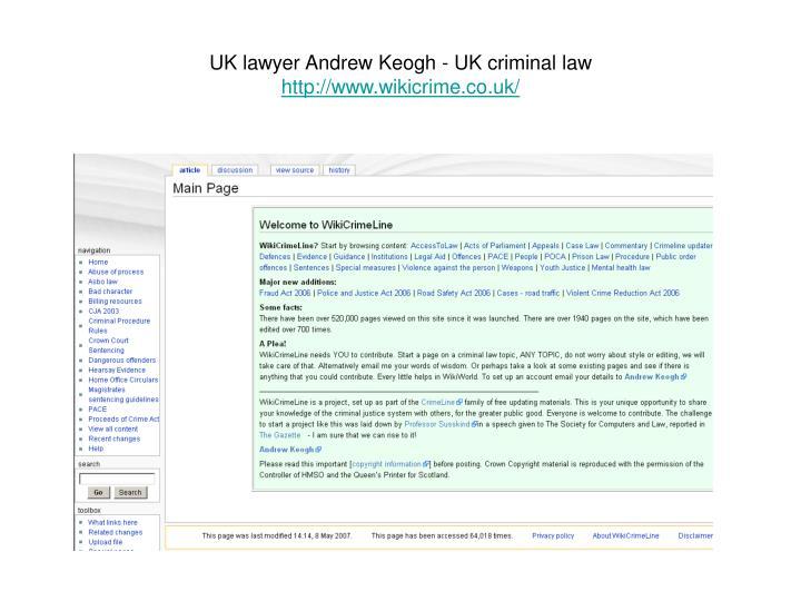 UK lawyer Andrew Keogh - UK criminal law
