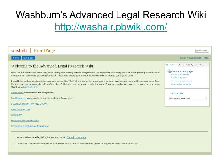 Washburn's Advanced Legal Research Wiki