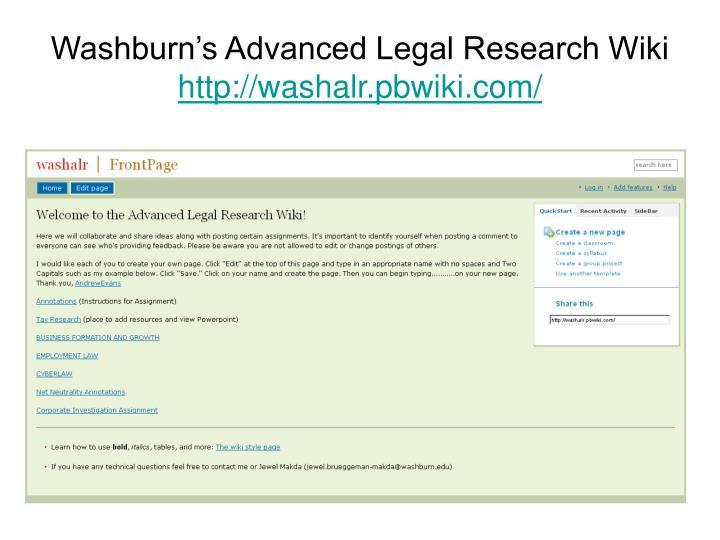 Washburn's Advanced Legal Research Wiki