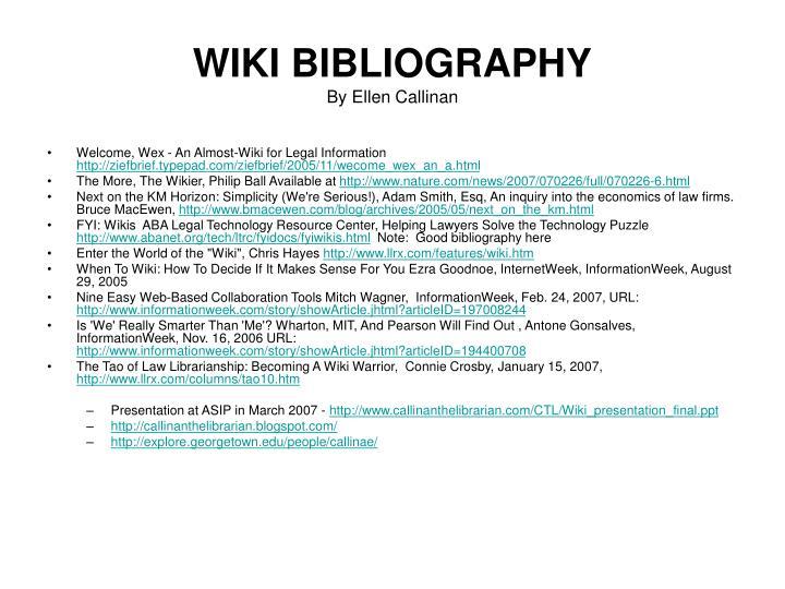 WIKI BIBLIOGRAPHY