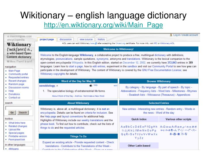 Wikitionary – english language dictionary