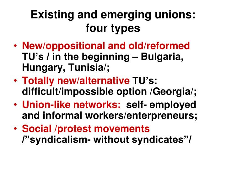 Existing and emerging unions: