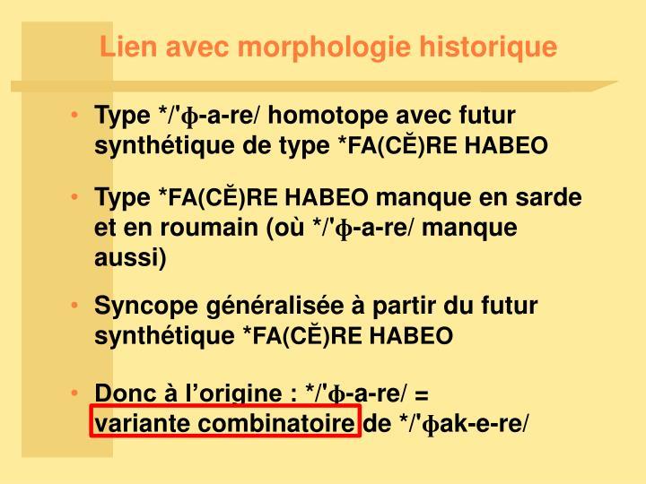 Lien avec morphologie historique