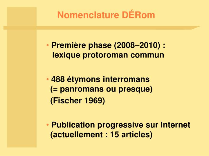 Nomenclature D