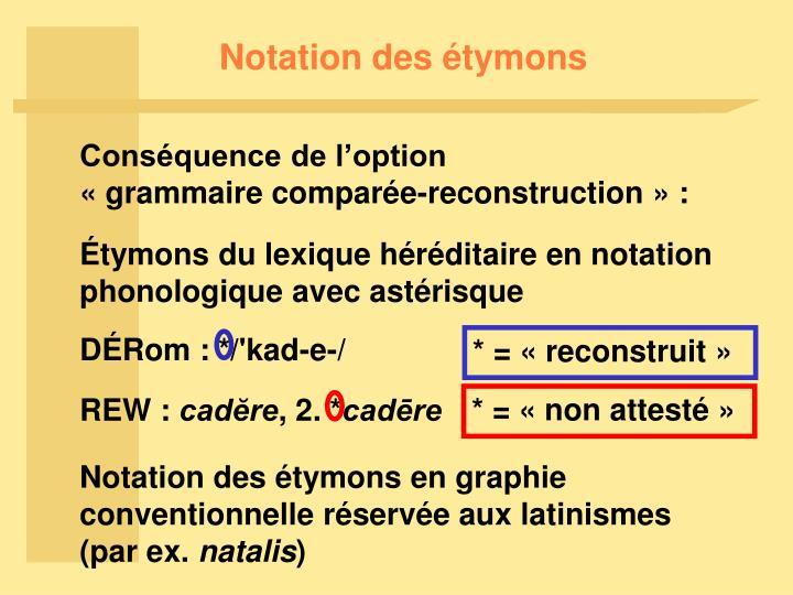 Notation des étymons