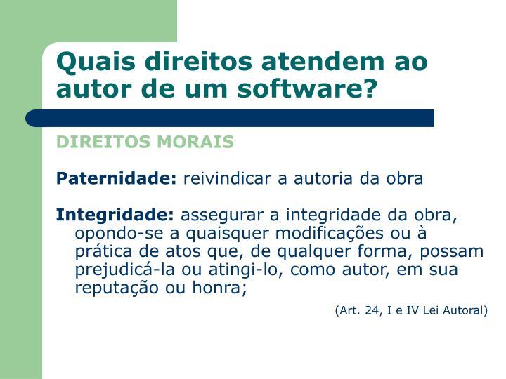 Quais direitos atendem ao autor de um software?