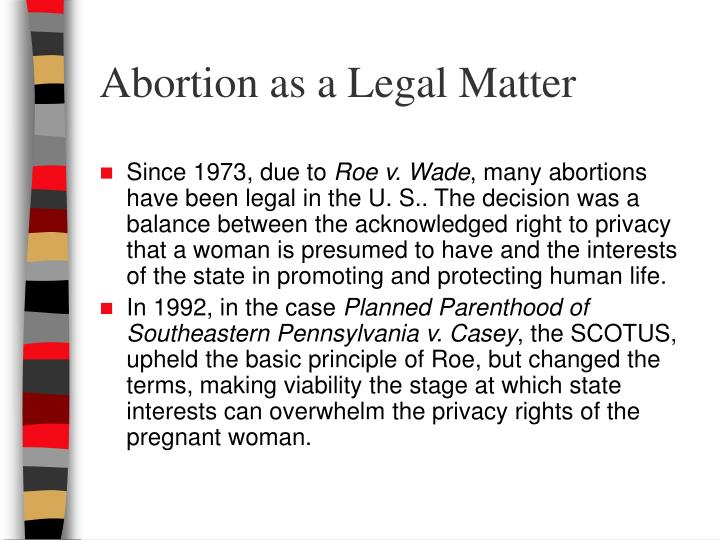 Abortion as a Legal Matter