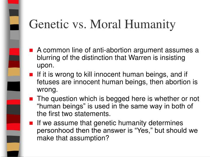 Genetic vs. Moral Humanity
