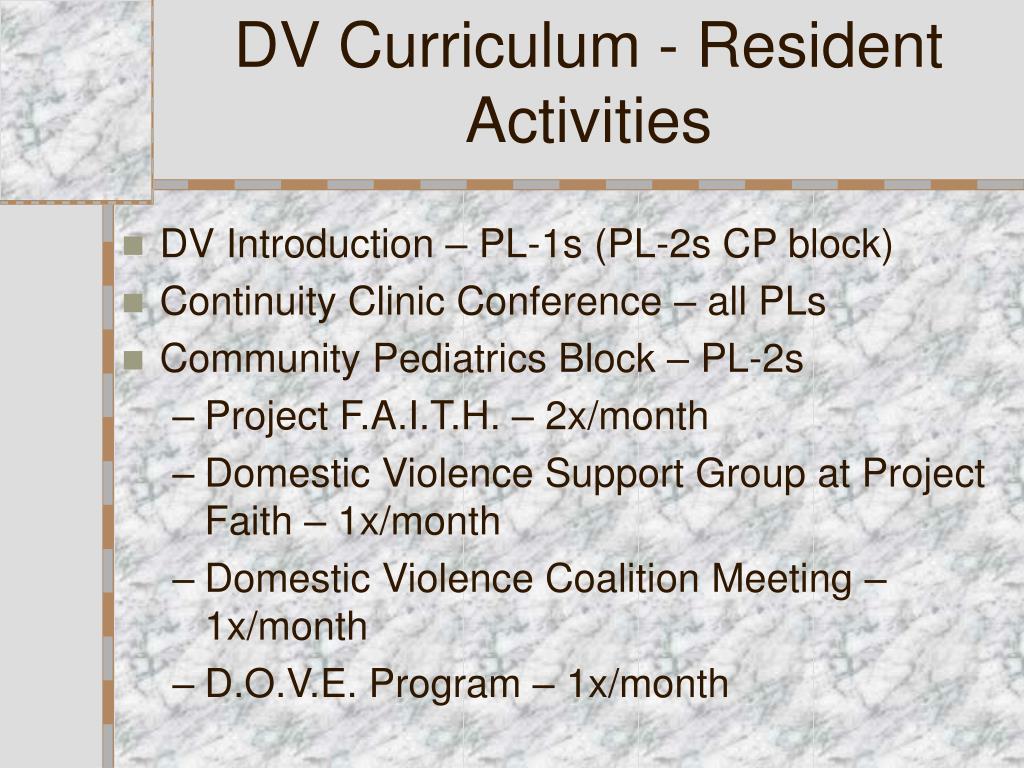 DV Curriculum - Resident Activities