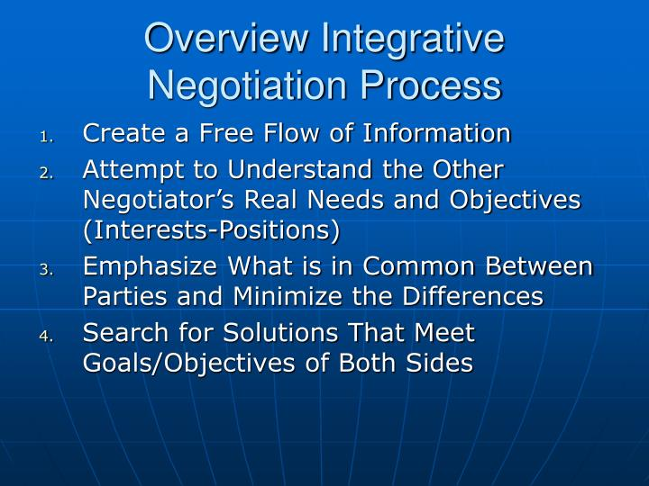 Overview Integrative Negotiation Process