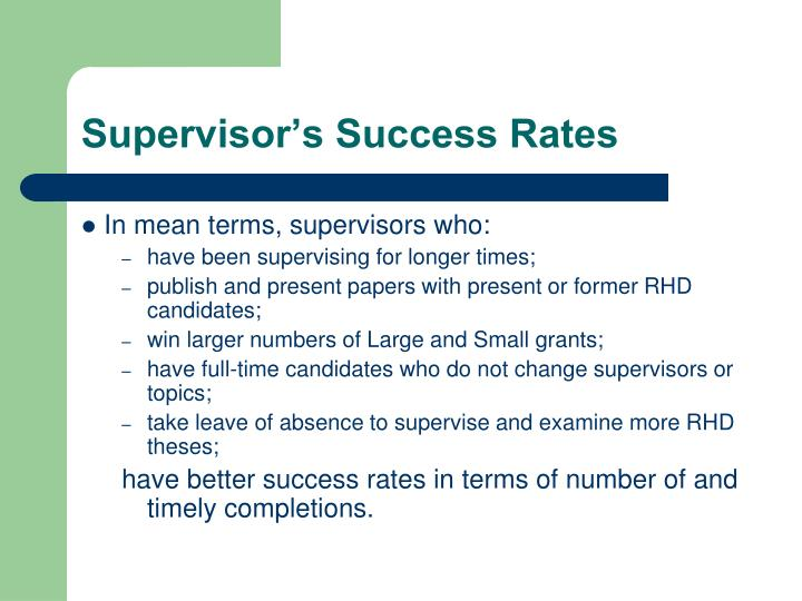 Supervisor's Success Rates