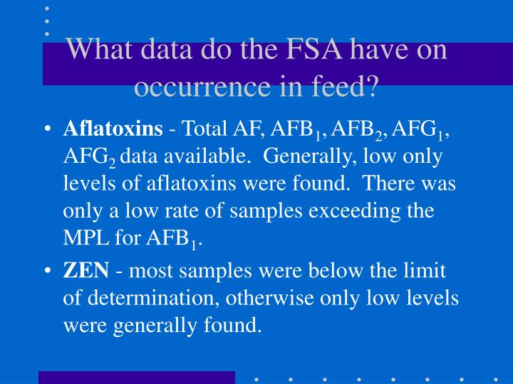 What data do the FSA have on occurrence in feed?