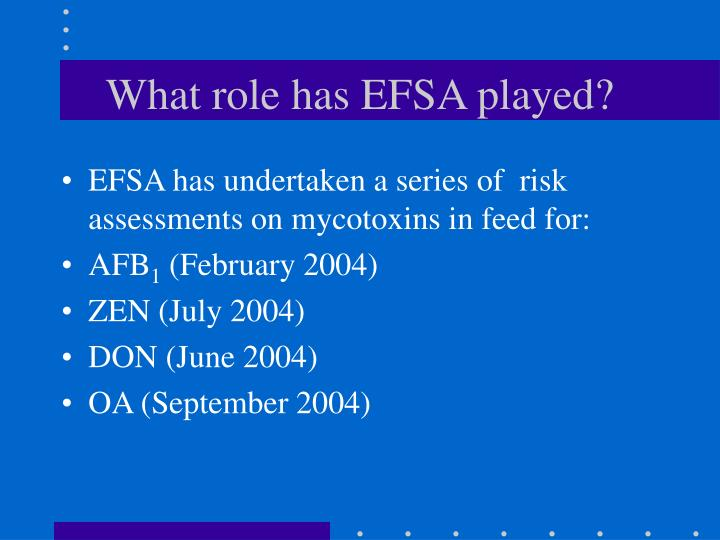 What role has EFSA played?