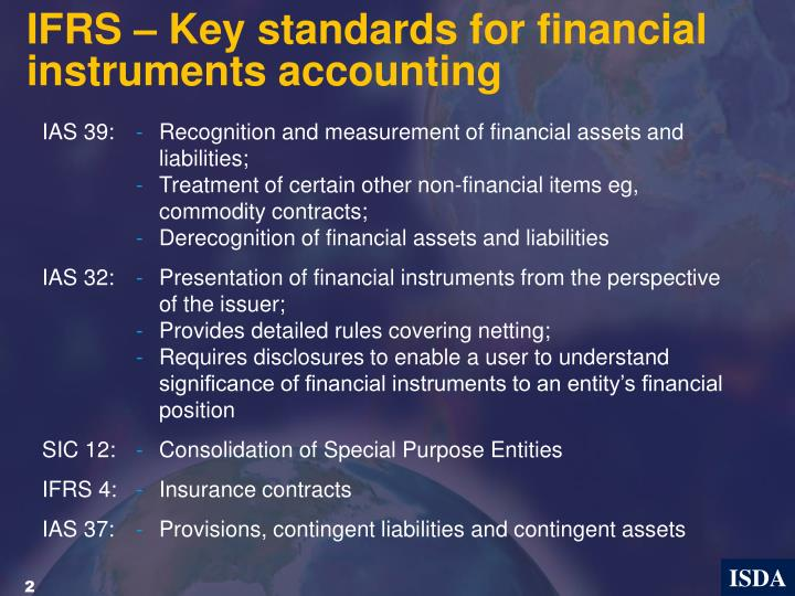 IFRS – Key standards for financial instruments accounting