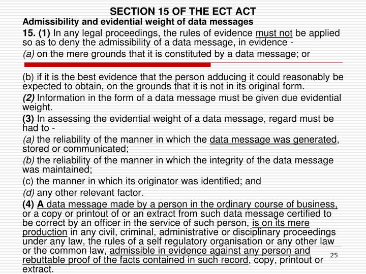 SECTION 15 OF THE ECT ACT