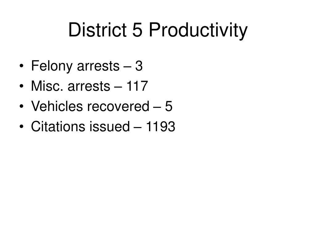 District 5 Productivity
