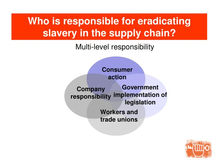 Who is responsible for eradicating  slavery in the supply chain?