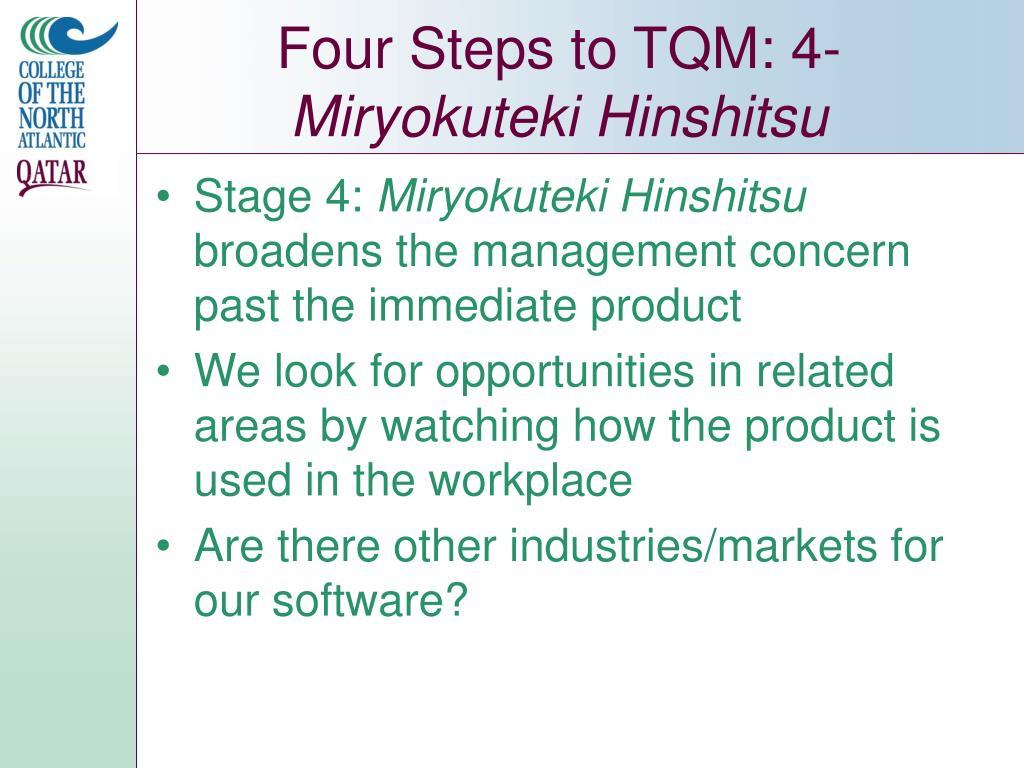 Four Steps to TQM: 4-