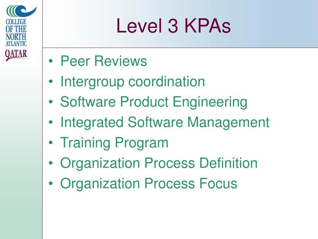 Level 3 KPAs
