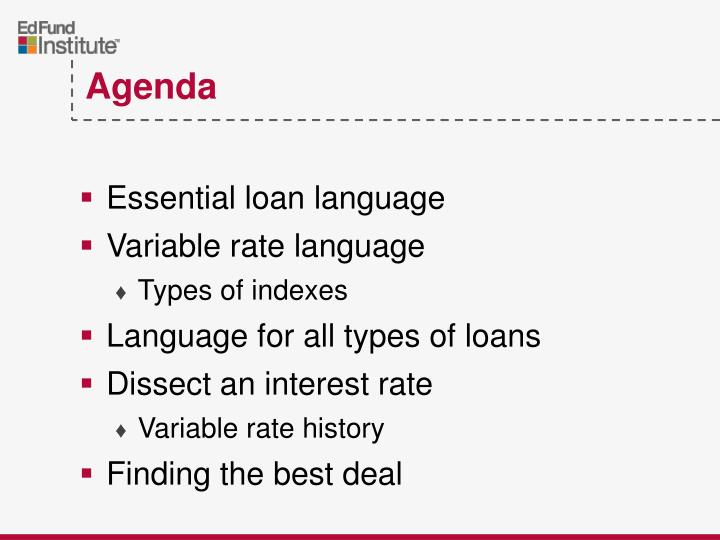 Essential loan language