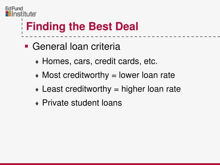 General loan criteria