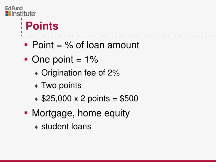 Point = % of loan amount