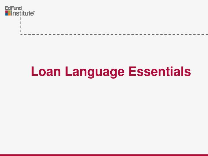 Loan Language Essentials