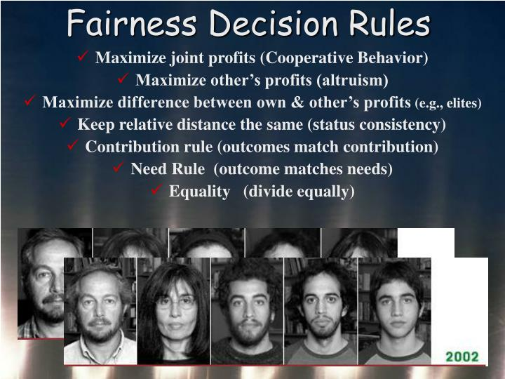 Fairness Decision Rules